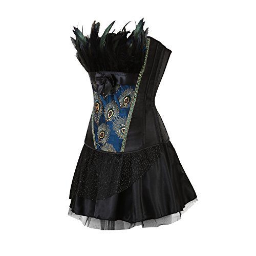 FeelinGirl Damen Gotik Corsagenkleid Bustier Vintage Korsage Corsage mit Rock Burlesque Petticoat Kostüme Pfau Pattern