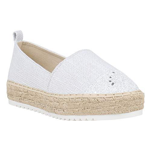Damen Schuhe Espadrilles Metallic Slipper Bast Profilsohle Flats 156182 Weiss Bast Glitzer 38 Flandell -