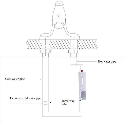 3000W Mini Calentador Instantáneo Eléctrico Calentador Agua Portátil Caldera única Cocina Cuarto Baño Rression Válvula…