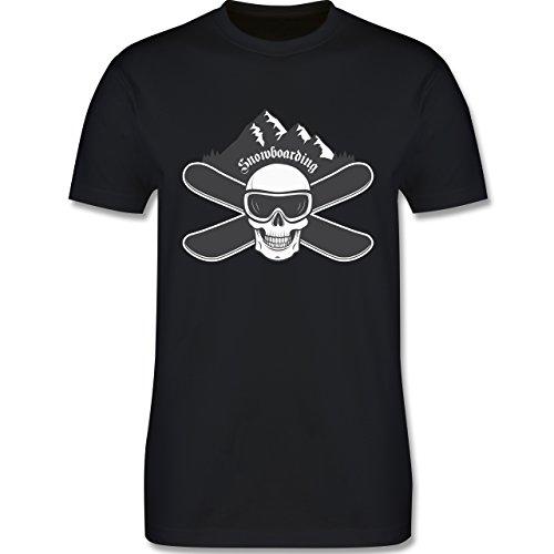 Wintersport - Snowboard Totenkopf - Herren Premium T-Shirt Schwarz