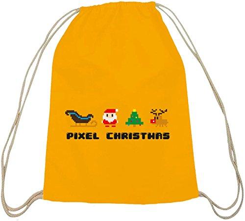 Pixel Natale, Natale Inverno Cotone Natura Zaino Zaino Sport Borsa Giallo Natura