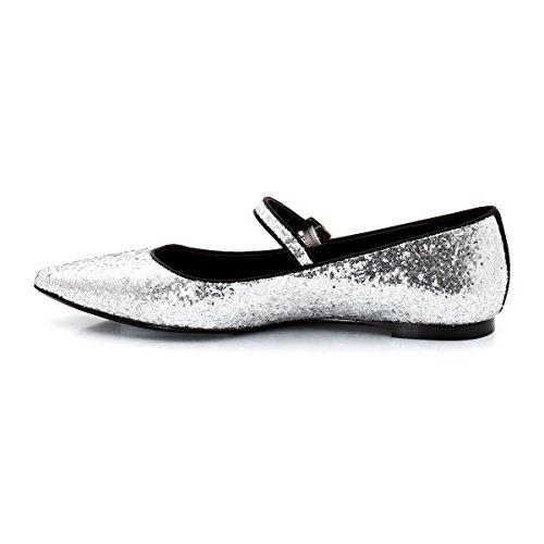 Mademoiselle R Frau Ballerinas Sparkly Silver-Coloured