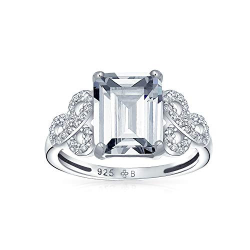 Bling Jewelry Filigrane Pave 925 Sterling Silber Zirkonia AAA CZ Celtic Love Knot 3 Ct Emerald Cut Solitär Verlobungsring (Diamant-ring Emerald-cut)
