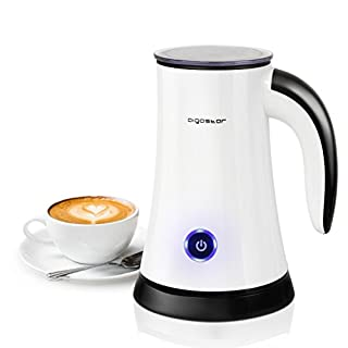 Aigostar MissPuff 30KHL - Electric Milk Frother, 450W, Two Attachments for Heating & Frothing, Non-Stick Coated Body, Silent Operation, BPA Free, 200ml, Level Indicator. Exclusively Design.