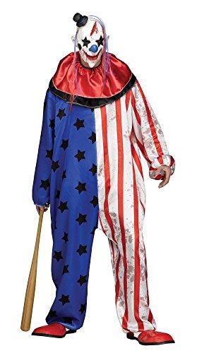 Evil Clown Herren-Kostüm Overall mit Sternen inklusive Maske Horror Killer Halloween Gr. L-XXL