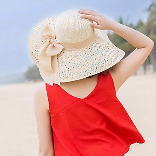 AJIAO Sonnenhut Weinlese-Hut-Dame Summer Wide Along Bow Visor Sun Beach Strohhut Bonbonfarbene Sonnenhüte Für Frauen