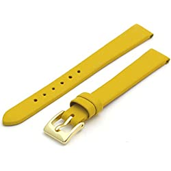 Fine Calf Leather Watch Strap Band 14mm Yellow with Gilt (Gold Colour) Buckle. Free Spring Bars (Watch Pins)