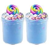 SWZY Cotton Candy Slime Bleu Moelleux Moelleux Slime Fournitures Stress Relief Toy Parfumé DIY Putty Sludge Toy pour Filles et garçons 8 OZ. (120 ML * 2)