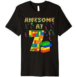 Geburtstag Shirt für Jungen Alter 7Sieben Blöcke Bausteine Thema