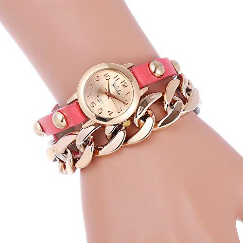 YILISHA Chain Double Leather Strap Bracelet Analog Quartz Women Watch (Pink)