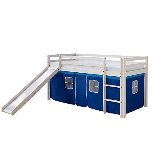 Homestyle4u 1544_067 Emil II. Hochbett Spielbett Kinderbett Weiss aus Kiefer mit Leiter Rutsche und Vorhang in Blau B x H 90 x 200 cm Jugendbett