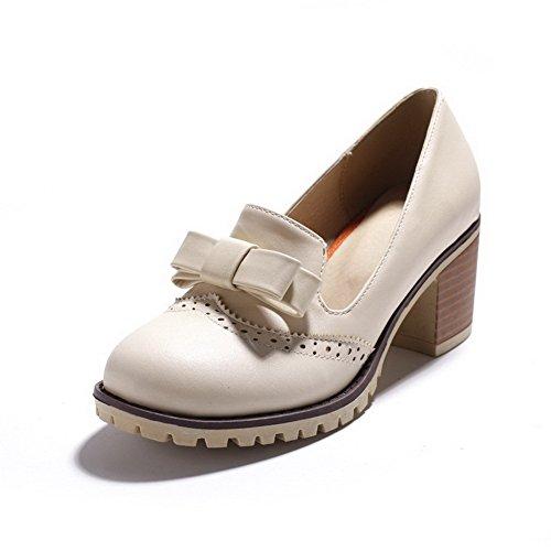 AgooLar Femme Matière Souple Rond à Talon Correct Tire Couleur Unie Chaussures Légeres Beige