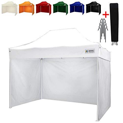 Party zelt Exclusive BRIMO ® Komplett 3 volle Wände + 8 Verankerungsdübel und Schutzhülse Gratis! (2x3m, Weiß)