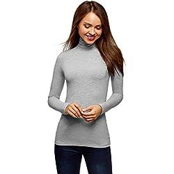 oodji Ultra Mujer Suéter de Cuello Alto Básico, Gris, ES 36 / XS