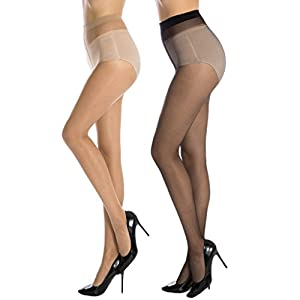 Cotson Women High Waist Skin & Black Sheer Stockings (Multicolour, Free Size)