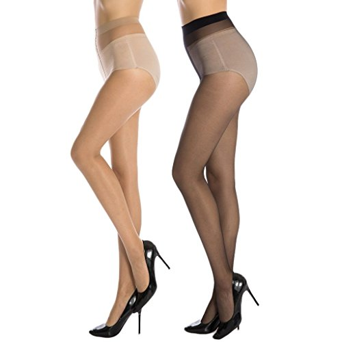 Women's Black & Beige Sheer Pantyhose / Stockings for Medium Size (Fits Waist 24″-34″)