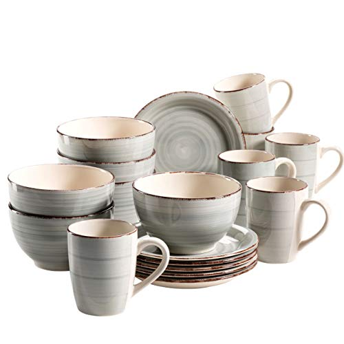 MÄSER 931492 Bel Tempo II Frühstück-Service für 6 Personen im Vintage Look, handbemalte Keramik, 18-teiliges Geschirr-Set, Blau, Steingut Service Plate