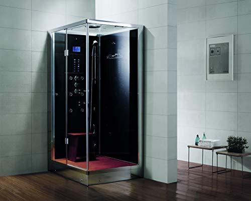 Dampfdusche/Wellnessdusche AQUALINE WS109S6 1200 x 900 x 2240mm Rückwandfarbe: schwarz, Version links