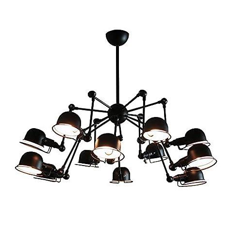 Moderne Créatif Lustre Rétro Industriel Le fer Suspension Avec 11 lumières, Noir
