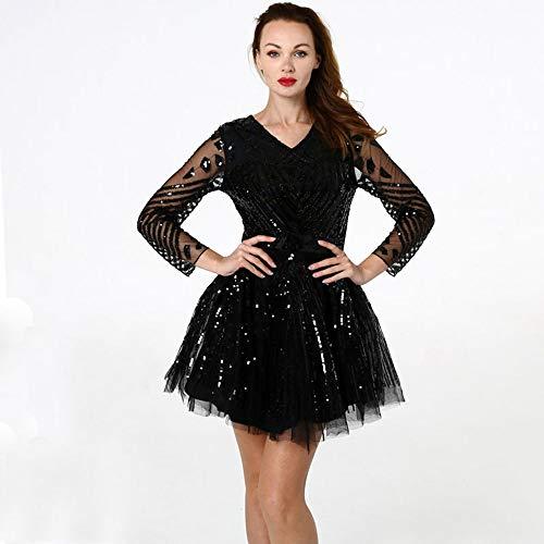 ZONA Elegent Elegantes Ballkleid-Kleid, Tüll Sparkle & Shine Schwarzer Abschlussball. Chiffon. Pailletten, Langärmelige Cascading-Rüschen Charming (Color : Black, Size : Free Size)