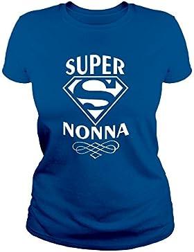 IDEAMAGLIETTA NON0011 T-Shirt Maglietta Donna Super Nonna 3 Idea Regalo Festa della Mamma O della Nonna