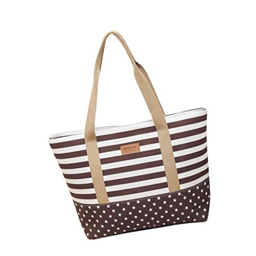 Zarupeng Women's Striped Shoulder Bags Big Capacity Canvas Bags Tote (B / 45cm×31cm×12cm, Braun) (Canvas Bag Braun Tote)