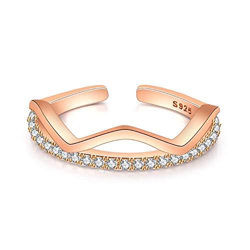 Rosegold Welle Form CZ einreihig Strasssteine vergoldet 18 K Verstellbar Band Ring für Frauen Mädchen - Antik-ring-set
