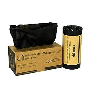Rascan Toilettenbeutel | 40 Stück 22L | Die perfekten Beutel für Ihre Toiletteneimer, Campingtoilette, Biotoilette und Mobiltoilette | 100% biologisch abbaubar und kompostierbar |