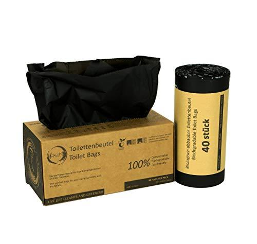 Rascan Toilettenbeutel | 40 Stück 22L | Die perfekten Beutel für Ihre Toiletteneimer, Campingtoilette, Biotoilette und Mobiltoilette | 100{94b74d2cf07178b650304b57729ed05dde6ac76a6708636005a469cc6e33e287} biologisch abbaubar und kompostierbar |