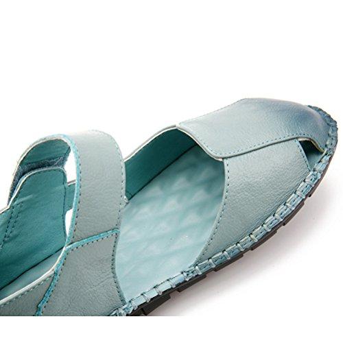 MatchLife Femmes Ballerines Décontractées Chaussures Basses Talon Epais Bleu Clair