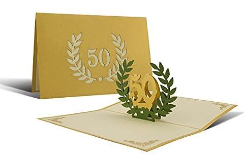 L11 Carte de voeux pour anniversaires de mariages or motif pop up 3D de haute qualité fait à main, motif 50