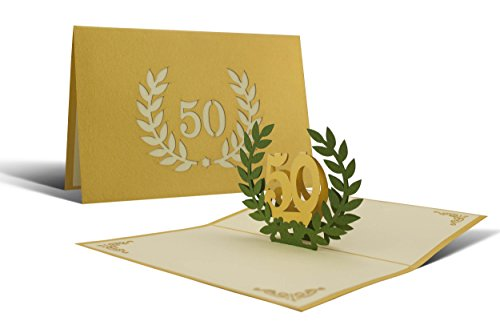 L11 Greeting card 50 years gold wedding deployable handmade design in 3D with steel