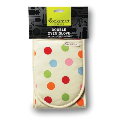 New Cooksmart Polka Dot Mitts 100% Cotton Double Oven Gloves Kitchen Pot Grabber