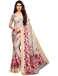 GoSriKi crepe with blouse piece Saree (Aakruti-230-1_ Cream_ Free Size)