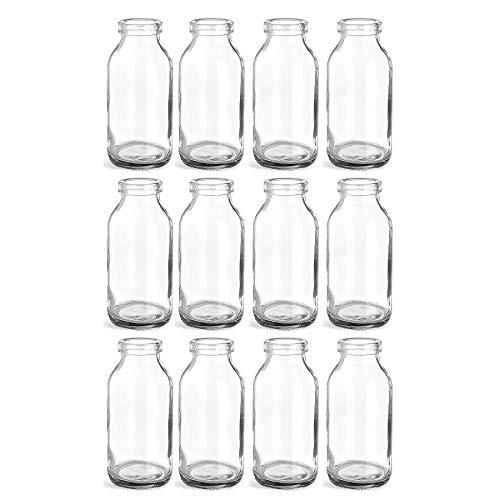 12 x kleine Vasen Glasflaschen 10,5 cm hoch Glasfläschen Landhaus Vintage Vase Flasche Glas klar mini Milchflaschen Dekoflaschen
