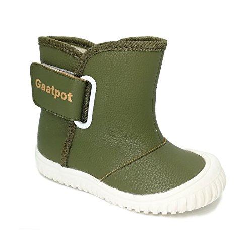 Oderola Baby Jungen Winterstiefel PU Leder Schlupfstiefel Babyschuhe mit Warmfutter Kleinkind Schuhe Grün 21 (Schuhe Kleinkind-grün)