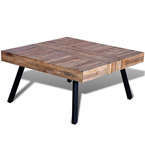Festnight Table Basse en Bois Teck Recyclé Table a Manger 80 x 80 x 40 CM