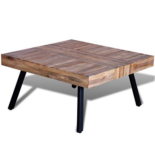 Festnight Table Basse en Bois Teck Recyclé Table a Manger 80 x 80 x 40 CM
