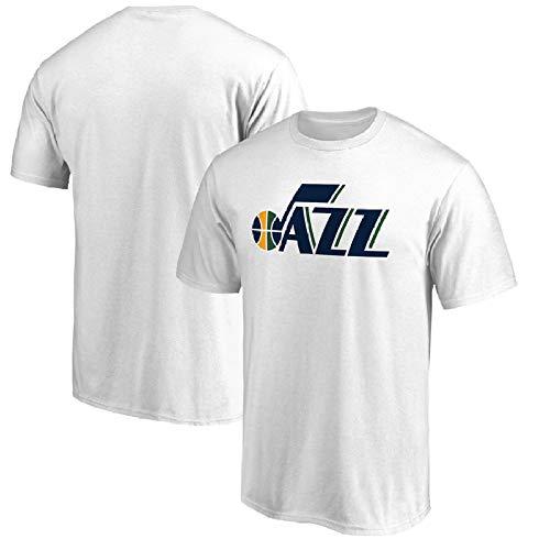 QAZ NBA Utah Jazz Jersey Sommer Team Match Uniform Brief Drucken Lässig Kurzes T-Shirt Geeignet Für Männer Und Frauen NBA T-Shirt,White-XXL (Utah Logo Jazz)