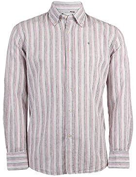 Camicia in misto lino bianca con righe rosa, rosse e nere