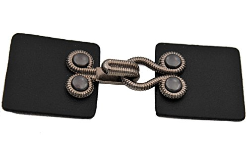 2 Stück, moderne Verschlüsse, Verschluss, aus Kunstleder schwarz und Metall Haken in silber antik ca.80mm x ca.30mm Schnalle, Haken, Verschluß, wie Leder (Leder Hartmann)