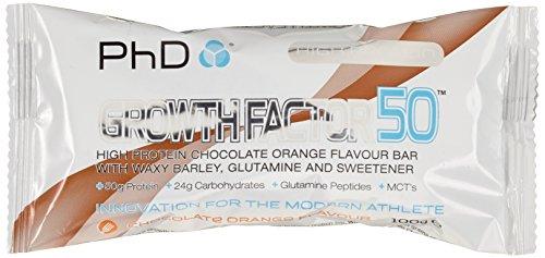 PHD Growth Factor 50 Brownie - Chocolate Orange (12 Brownies), 1er Pack (1 x 1.2 kg) - Bars Protein Gainer Weight