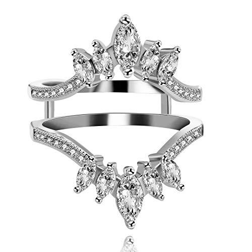 ium plattiert Marquise Cut Erstellt Moissanite CZ Ring Enhancer Doppel Hochzeit Bandschutz für Verlobungsringe (Größe 59) Y44 ()