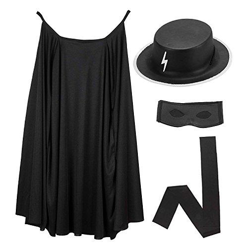 Mega_Jumble® - Disfraz héroe Zorro Highway Man capa