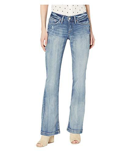 Silver Jeans Co. Damen Suki Curvy Fit Mid Rise Bootcut Jeans, Medium Wide Hem, 34W x 33L