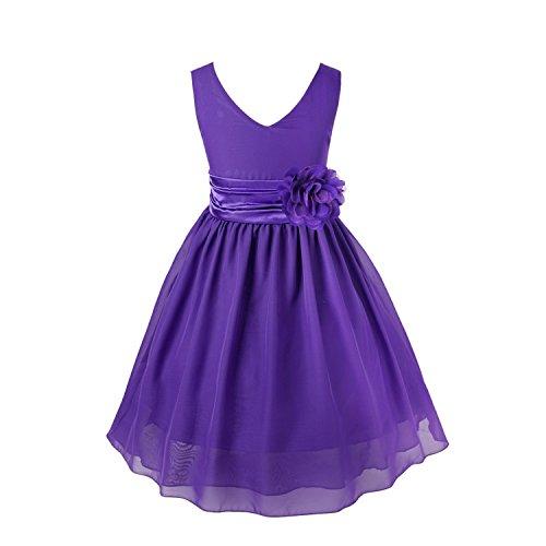YiZYiF Blumenmaedchenkleider Kinder Mädchen Prinzessin Kleid für Brautjungfern Hochzeits Chiffon Sommer Festzug Lila - 14(Asien), 164(DE)