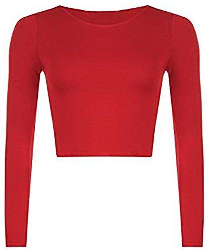 WearAll Nuovo Donna Crop T-Shirt A Maniche Lunghe da Donna Corto Semplice Rotondo Collo Canotta 8-14 Red