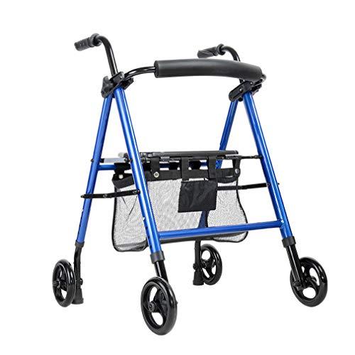 Drive Medical Euro Rollator Walker Faltbarer, robuster Einkaufswagen mit Sitz und 4 Rädern für medizinische Gehhilfen, Doppelbremsanlage, für gehende Senioren,Blue -