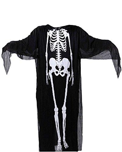 Halloween Kostüm Cosplay Schädel Skelett Geist Fasching Karnevall Erwachsene Erwachsene (Poncho Halloween Kostüm)