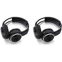 2 Paquete de dos canales plegable ajustable universal trasero Sistema de entretenimiento con auriculares infrarrojos de